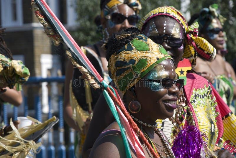 Twee zwarten bij de Notting-Heuvel Carnaval stock foto's