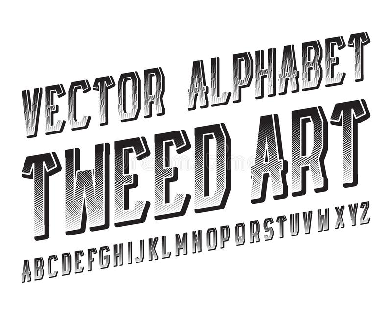 Tweed Art Vector typeface. Black patterned font. Isolated english alphabet.  vector illustration