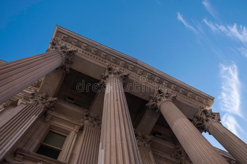 Tweed Courthouse viewed from below in Manhattan, NY. New York, USA - July 20, 2018 - Tweed Courthouse viewed from below in Manhattan, NY royalty free stock photo
