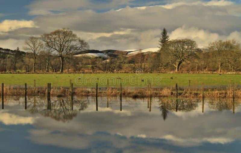Tweed del fiume nella riflessione fotografia stock