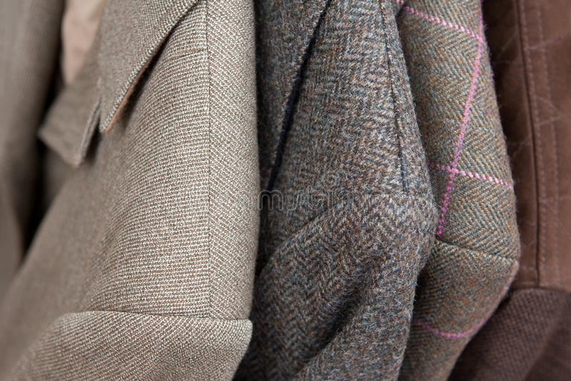 Tweed jackets detail close-up stock photos