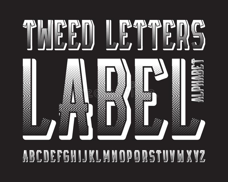 Tweed Letters Label typeface. White contrasting font. Isolated english alphabet.  vector illustration