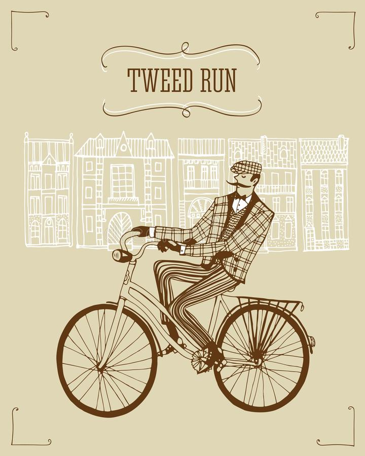 Tweed run illustration. Retro hand drawn gentleman with moustaches in tweed costume on a bicycle.Illustration introducing tweed ride poster royalty free illustration