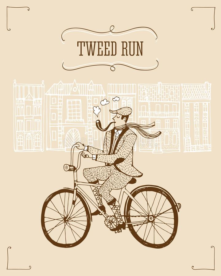 Tweed run illustration. Retro hand drawn gentleman with smoking pipe in tweed costume on a bicycle.Illustration introducing tweed ride poster royalty free illustration