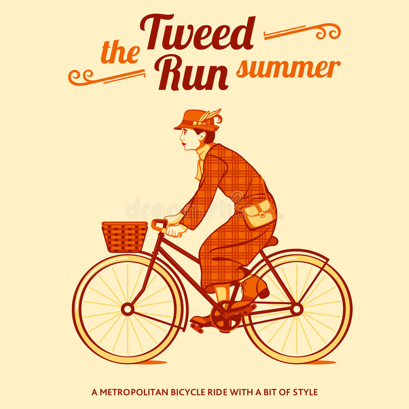 Tweed run poster. Tweed run retro cycling event poster stock illustration