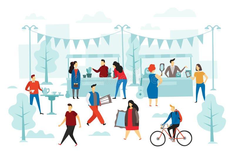 Tweede handwinkel Vlooienmarkt, straatwinkel handelboxen en het ruilmiddel van manierkleren Mensen die doek vlakke vector verkope vector illustratie