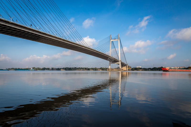 Tweede Hooghly-rivierbrug - de langste kabel bleef brug in India royalty-vrije stock fotografie