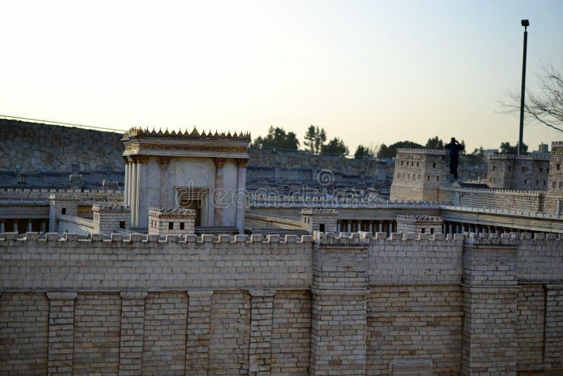 Tweede Tempel Model van oud Jeruzalem Israel Museum in Jeruzalem stock foto