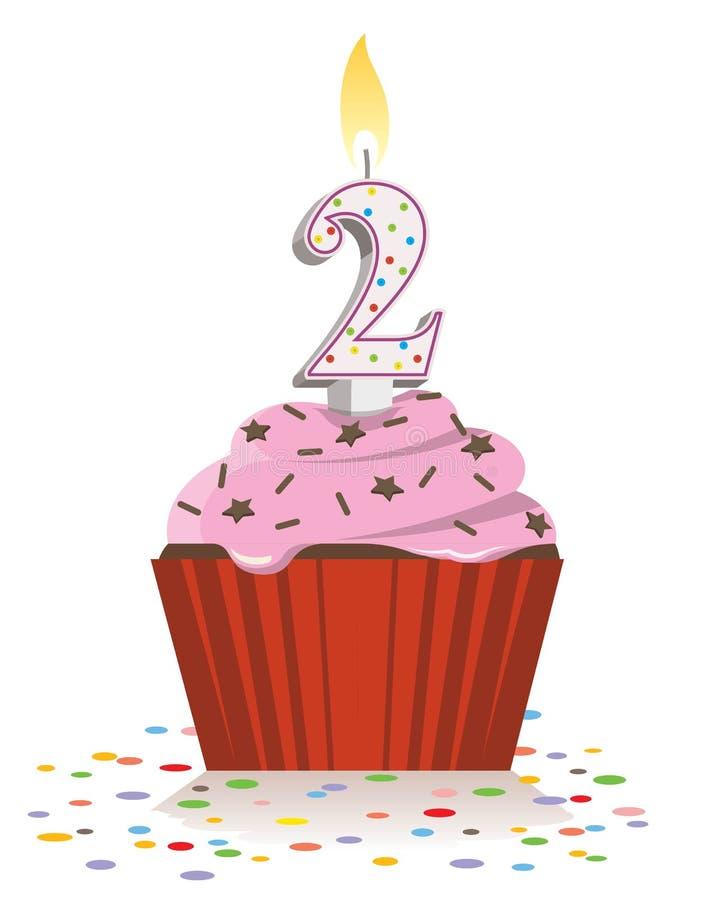 Tweede verjaardag cupcake met aangestoken kaars in vorm van nummer twee vector illustratie