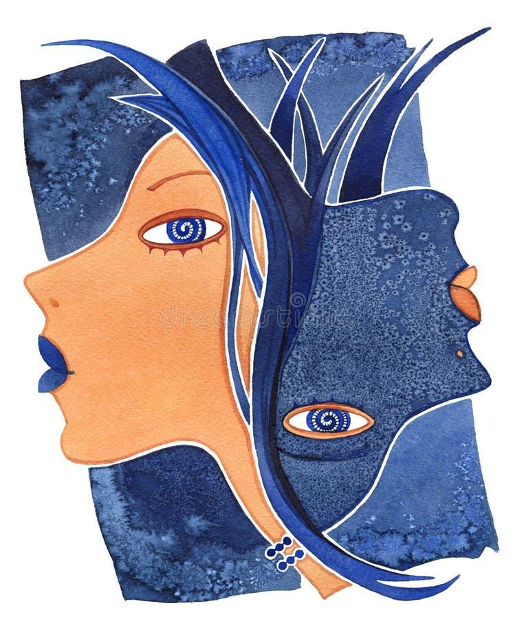 Tweeling -Tweeling-girlб Gezichtsmeisje als astrologiesymbool Tweeling op een patroonachtergrond stock afbeelding