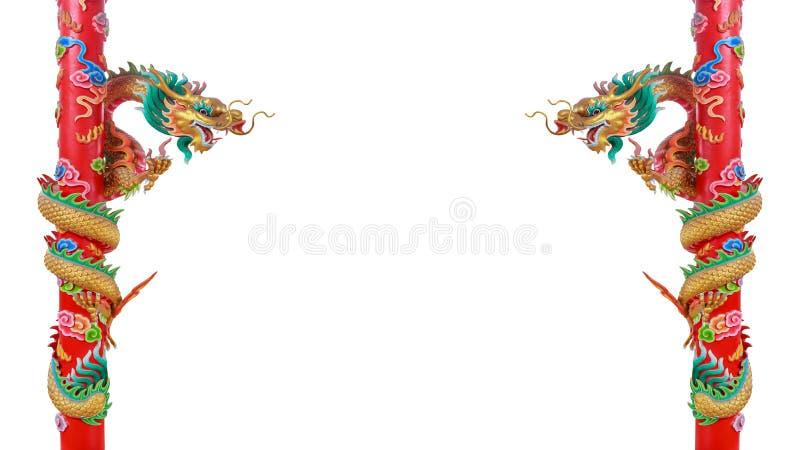Tweeling gouden Chinese draken op de rode polen royalty-vrije illustratie