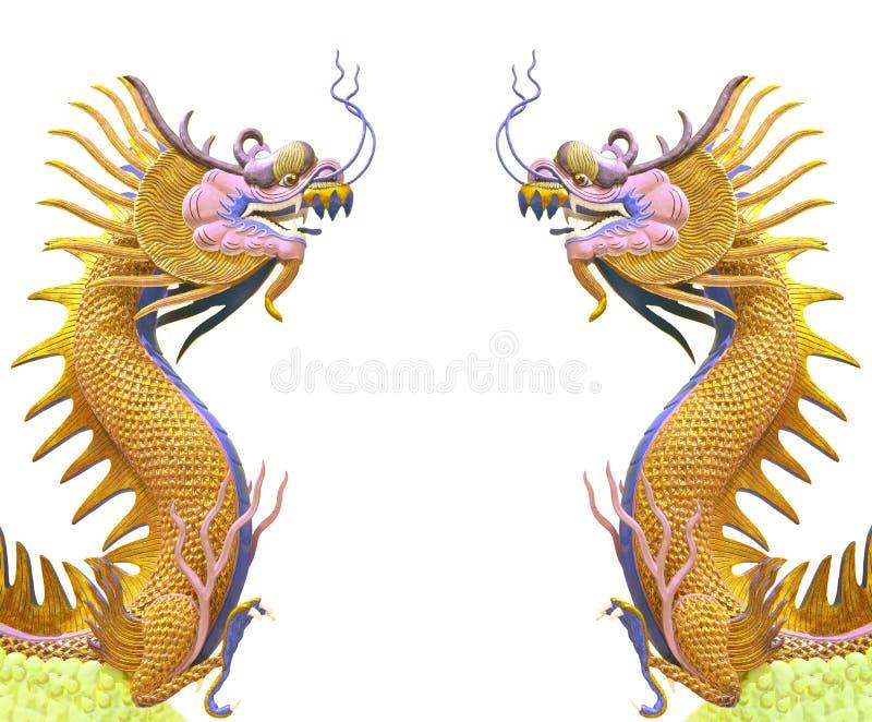 Tweeling gouden draakgebruik als Chinese achtergrond vector illustratie