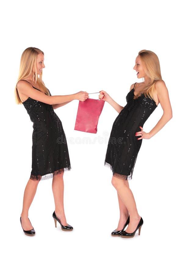 Tweeling meisjes die voor een zak vechten royalty-vrije stock foto's