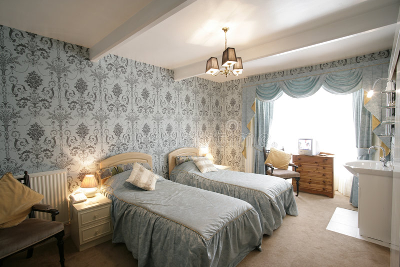 Tweeling slaapkamer royalty-vrije stock foto