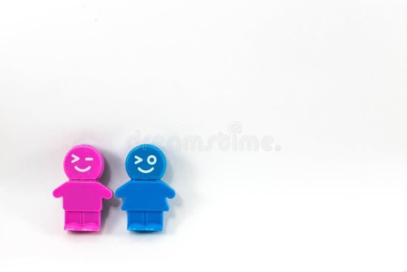 Tweelingbeeldverhaalmeisje en jongen stock fotografie