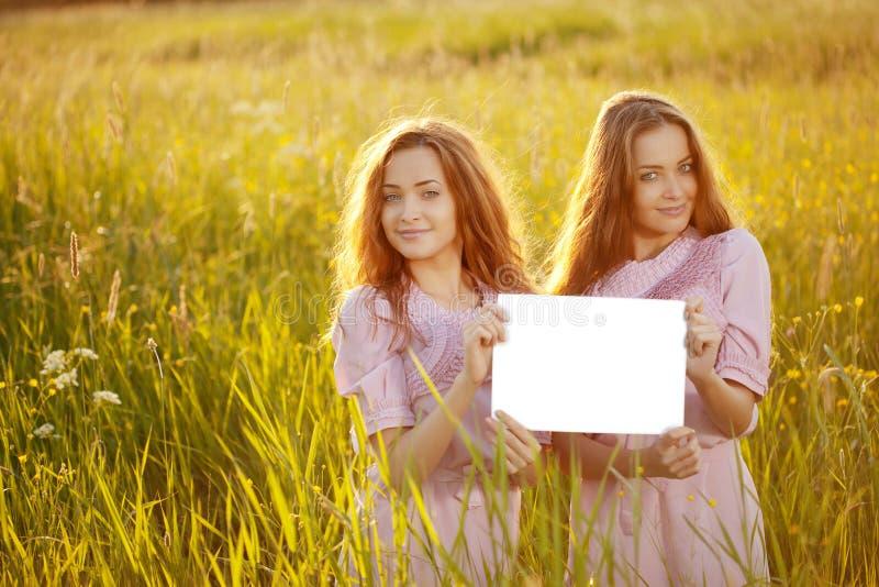 Tweelingen die witte lege affiche in openlucht houden stock foto's