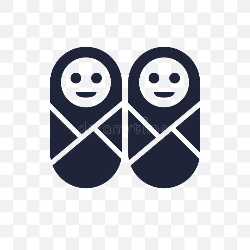 Tweelingen transparant pictogram Het ontwerp van het tweelingensymbool van Mensencollecti vector illustratie
