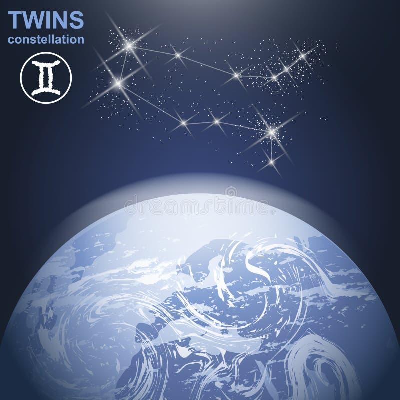 Tweelingenconstellatie met sterren en aarde in 3d met licht en atmosfeer vector illustratie