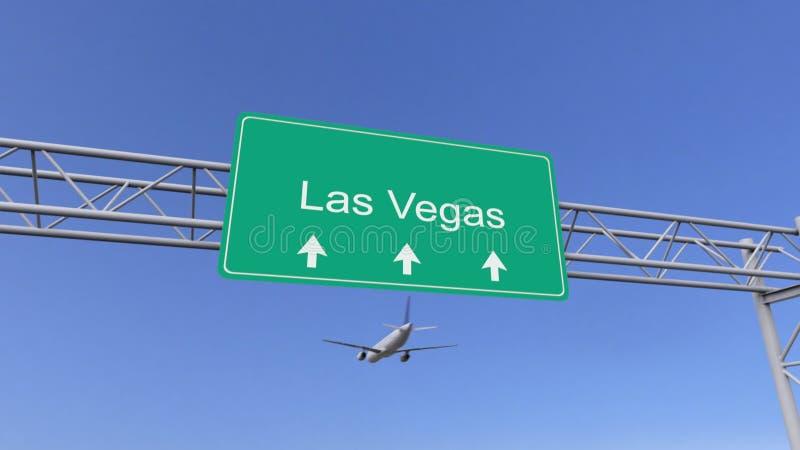 Tweelingmotor commercieel vliegtuig die aan de luchthaven van Las Vegas aankomen Het reizen naar het conceptuele 3D teruggeven va vector illustratie