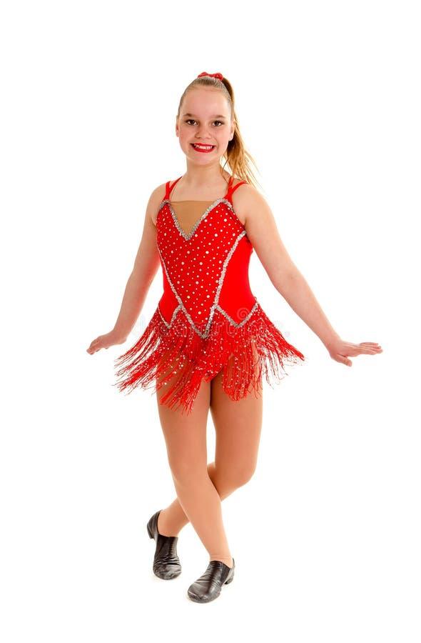 Tween Jazz Dancer no vermelho imagens de stock royalty free