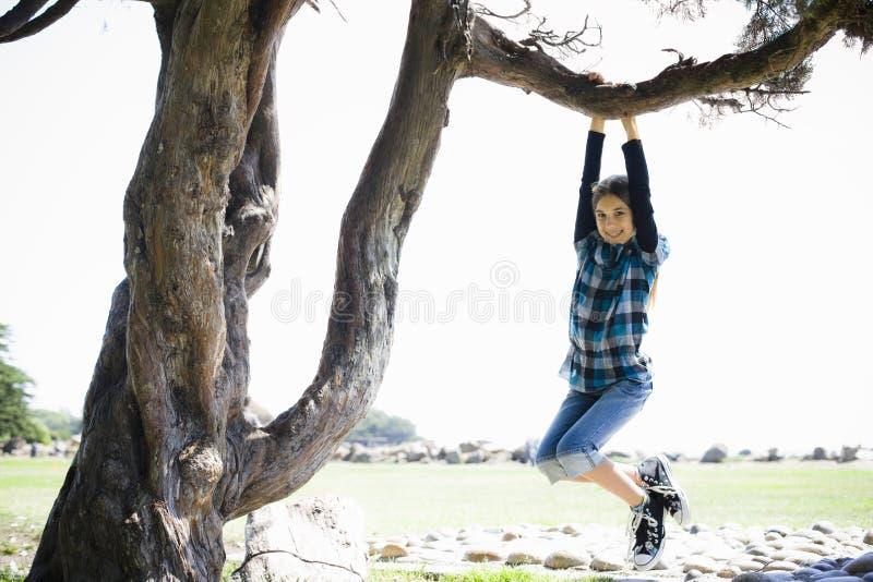 Tween-Mädchen, das vom Baum-Zweig schwingt lizenzfreie stockfotos