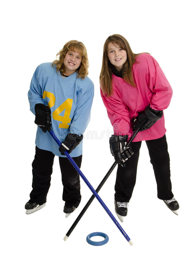 Tween Ringette Players Royalty Free Stock Images