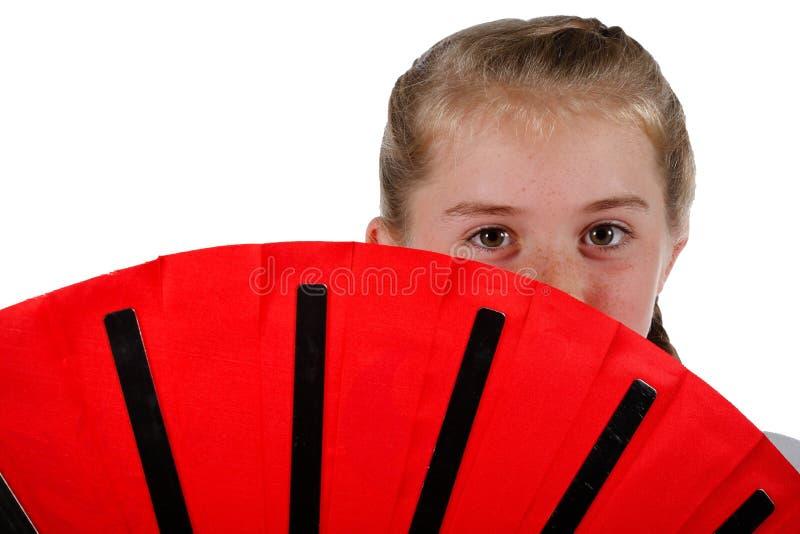 Tweenage girl going karate royalty free stock photography
