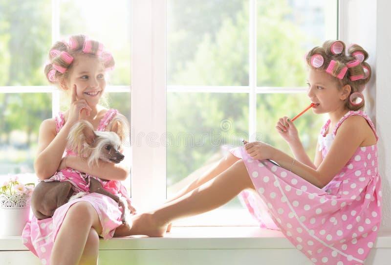 Tweenie-Mädchen in den Haarlockenwicklern mit Hund lizenzfreie stockbilder