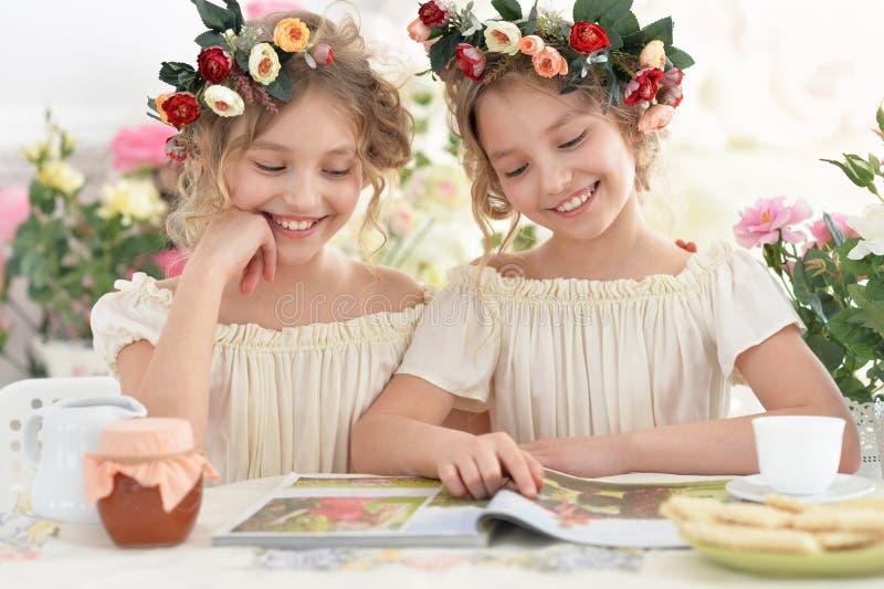 Tweeniemeisjes in kronen met tijdschrift stock afbeelding
