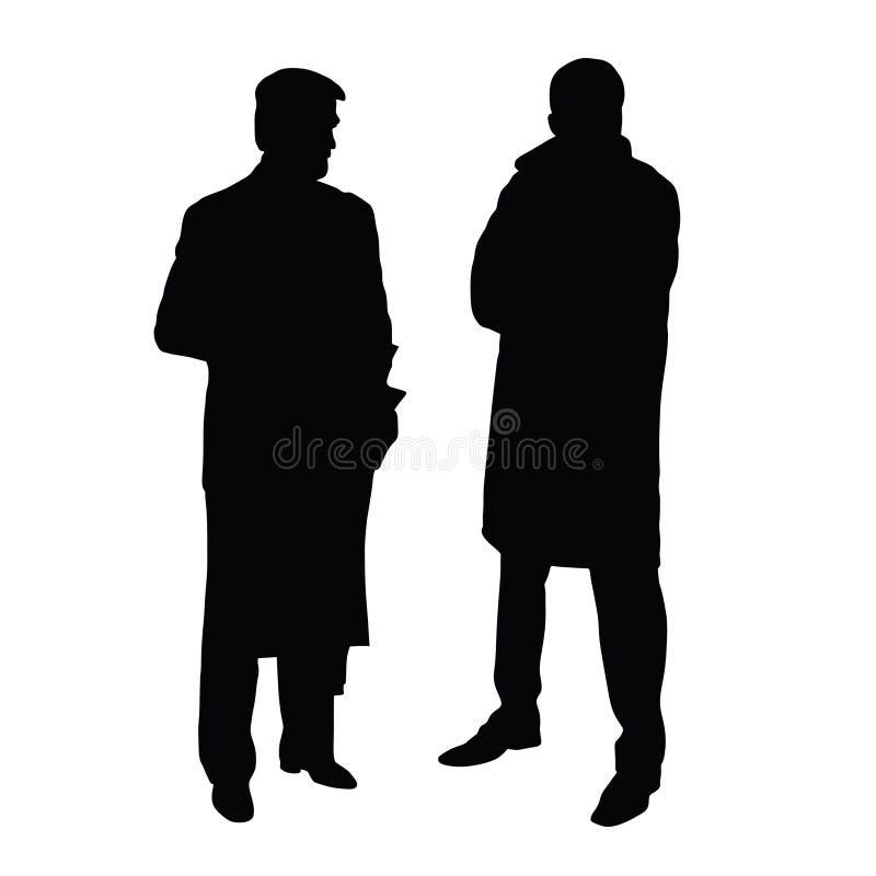 Tweepersoons in kostuums zwart silhouet op wit royalty-vrije illustratie