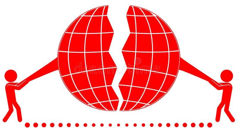 Tweepersoons scheurplaneet stock illustratie