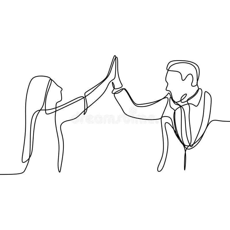 Tweepersoons toenemend werpt zijn hand en een hoogte vijf Ononderbroken lijntekening van een of hun bureaumens en een meisje die  stock illustratie