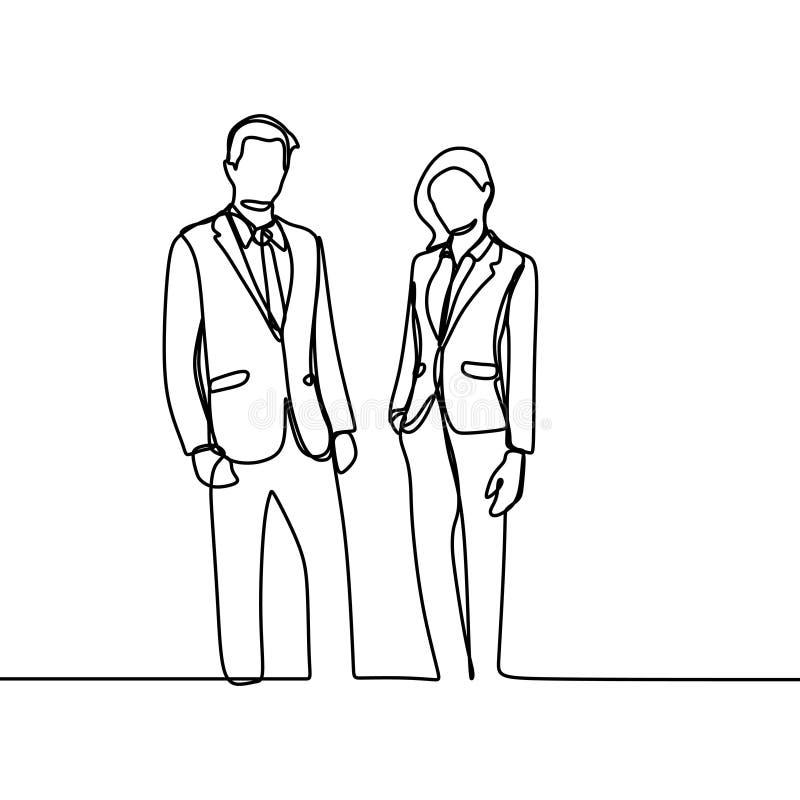 Tweepersoons van beambte het concept een werkgever en zijn secretaresse die kijkt zachte en ontzagwekkende ononderbroken lijnteke vector illustratie
