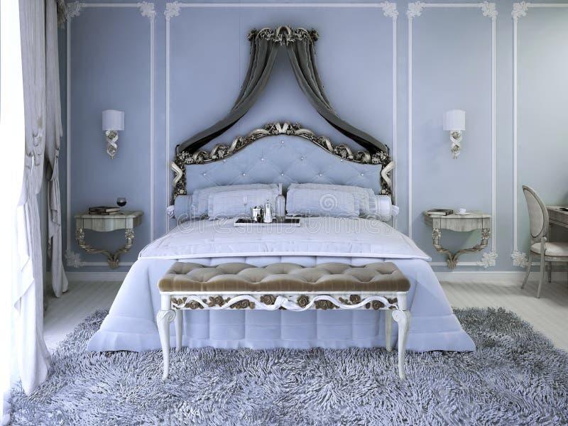 Tweepersoonsbed met gordijn royalty-vrije stock afbeeldingen