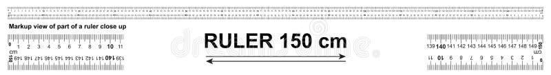 Tweerichtingsheerser 150 cm of 1500 mm Gebruikt in bouw, techniek, kleding productie, timmerwerk stock illustratie