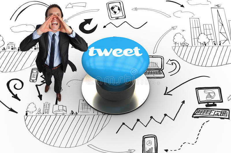 Tweet against blue push button. The word tweet and shouting businessman against blue push button royalty free illustration