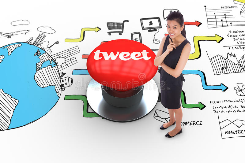 Tweet against digitally generated red push button. The word tweet and thoughtful businesswoman against digitally generated red push button vector illustration