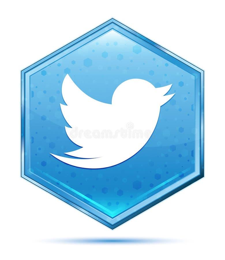 Tweet bird icon crystal blue hexagon button vector illustration