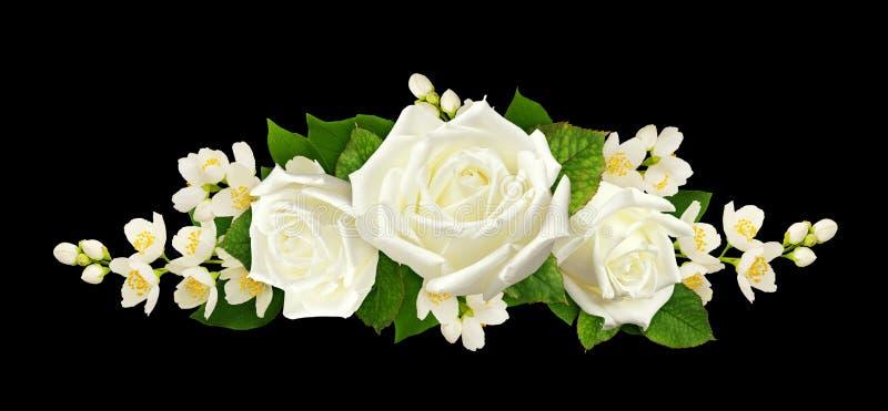 Tweevoudige Jasmijnbloemen en -rozen in een lijnoverschrijving stock foto