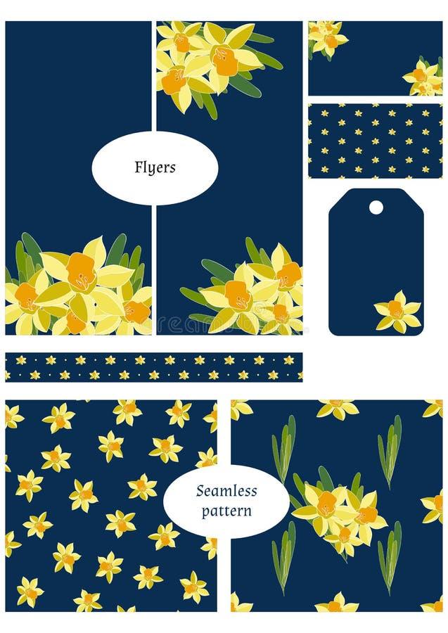 Tweezijdig adreskaartje, vlieger, markeringen, verpakkende grens en twee naadloze patronen Bloemen geplaatste malplaatjes, inzame royalty-vrije illustratie