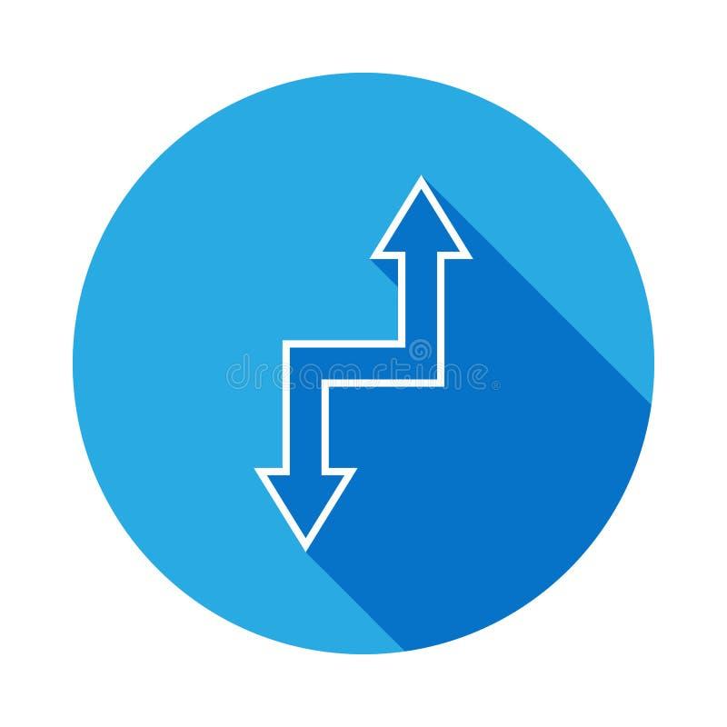 tweezijdig pijlenpictogram met lange schaduw Dun lijnpictogram voor websiteontwerp en ontwikkeling, app ontwikkeling Premiepictog vector illustratie