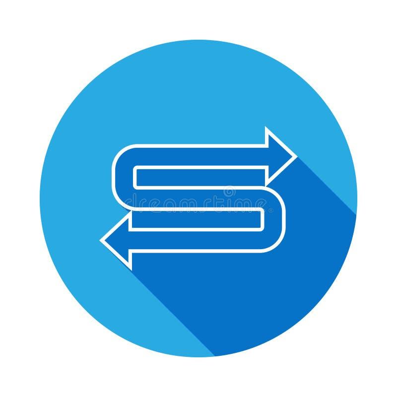 tweezijdig pijlenpictogram met lange schaduw Dun lijnpictogram voor websiteontwerp en ontwikkeling, app ontwikkeling Premiepictog royalty-vrije illustratie