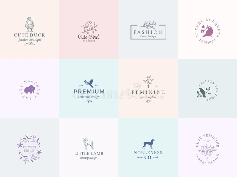 Twelve Abstract Feminine Vector Signs or Logo Templates Set. Retro Floral Illustration with Classy Typography, Birds. Lamb, Duck, Hound and Elephant. Premium vector illustration