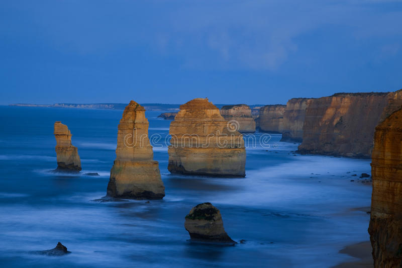 Twelve Apostles. Steep Australian south coast with the outstanding pinnacles, the so called twelve apostles stock image