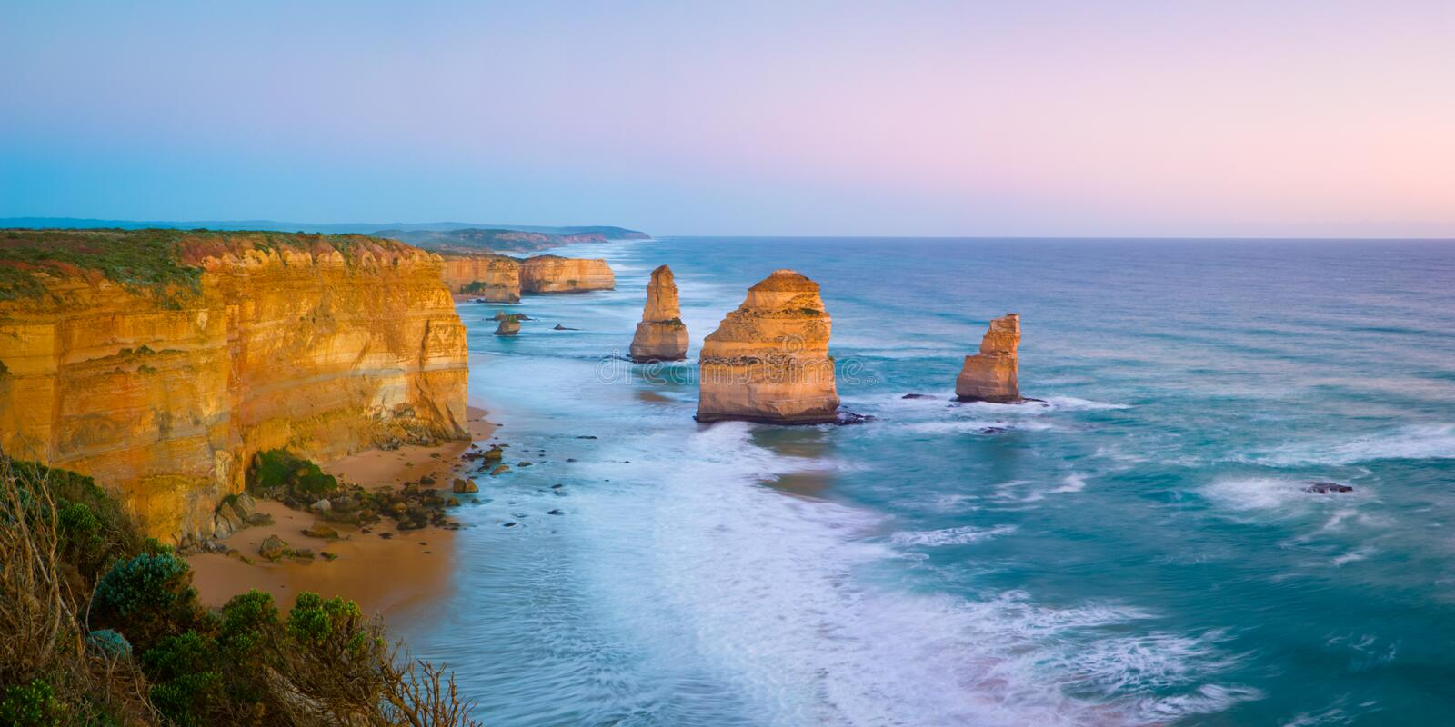 The Twelve Apostles. The landmark Twelve Apostles at sunset, along the famous Great Ocean Road in Victoria, Australia stock image