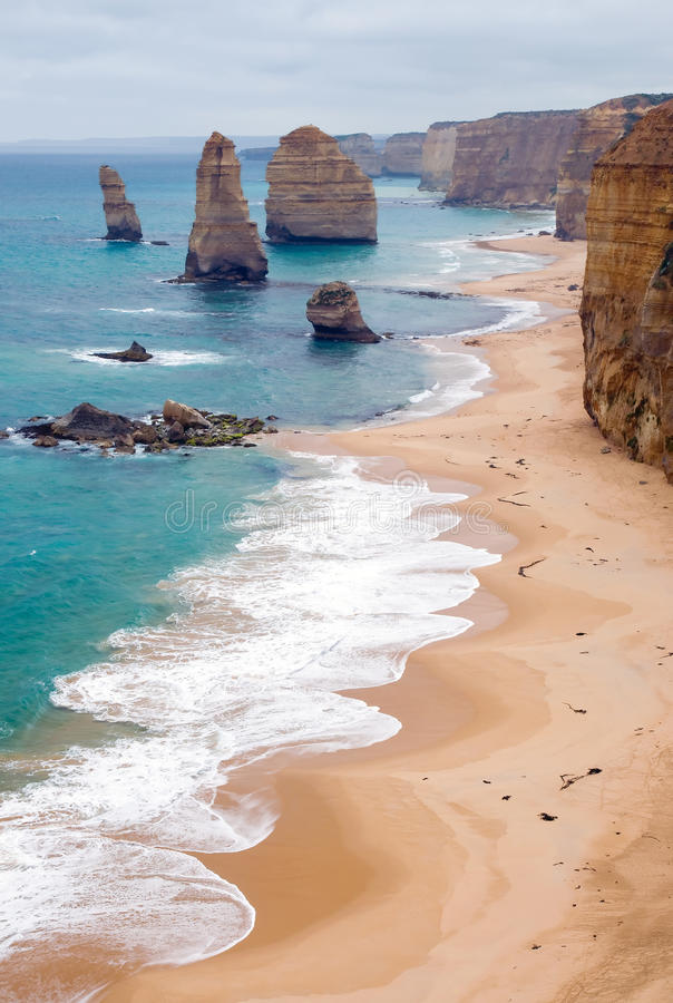 The Twelve Apostles. Ocean power - famous eroded cliffs stacks in ocean waves (Pacific Ocean), natural scenery. 12 Apostles at Great Ocean Road, Victoria royalty free stock images