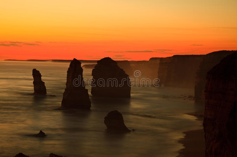 Twelve Apostles. Steep Australian south coast with the outstanding pinnacles, the so called twelve apostles stock photo