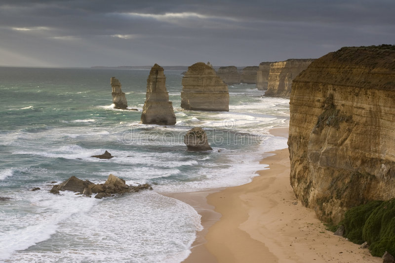 The Twelve Apostles. Scenic view of the Twelve Apostles in the sea off the shore of Port Campbell National Park, Victoria, Australia stock photo