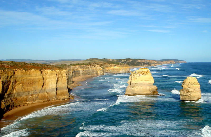 The Twelve Apostles. Australia, with aerial view.  is a collection of limestone stacks off the shore of the Port Campbell National Park, by the Great Ocean royalty free stock images