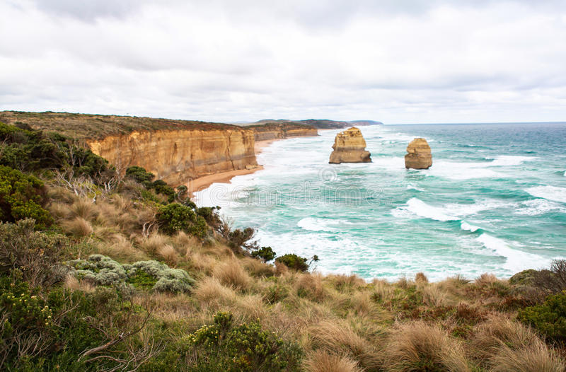 The Twelve Apostles in Australia. This photo was taken in Victoria on April 25th, 2012. The Twelve Apostles is a collection of limestone stacks off the shore of royalty free stock photos